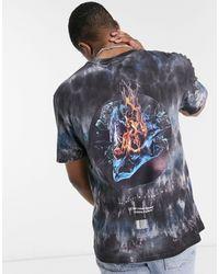 Criminal Damage T-shirt With Back Fire Ice Print - Blue