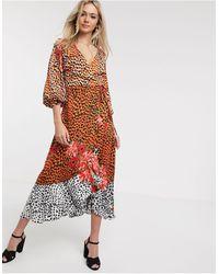 Liquorish Wrap Front Satin Midaxi Dress - Multicolor