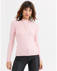 Warehouse Maglione rosa con scollo a imbuto