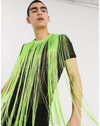 ASOS T-shirt en tulle ajusté à franges fluo style festival - Noir