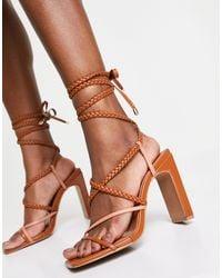 ASOS Neela Strappy Tie Leg Heeled Sandals - Brown