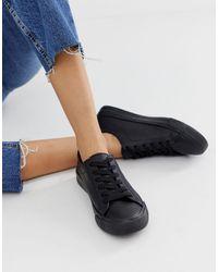 New Look Leather Look Sneaker - Black