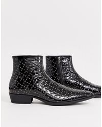 ASOS Cuban Heel Western Chelsea Boots In Black Faux Leather With Eyelet And Stud Detail
