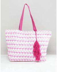 Chateau - Flamingo Print Beach Bag - Lyst