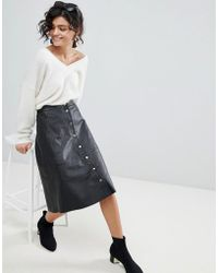 SELECTED - A-line Button Through Leather Skirt - Lyst