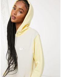 Nike Hoodie oversize color block avec petit logo - Jaune