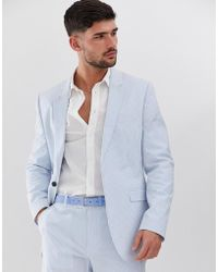 ASOS Slim Suit Jacket In Cotton Seersucker With Blue And White Stripe