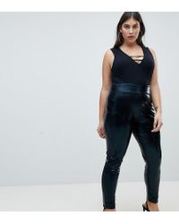 54a8e41a6d608 ASOS Leather Look Leggings in Black - Lyst