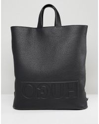 HUGO - Victorian Logo Leather Tote Backpack In Black - Lyst