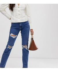 New Look Ripped Chicago Mom Jeans - Blue