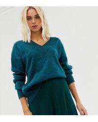 Miss Selfridge V Neck Sweater In Teal - Green