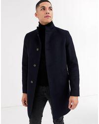 Tommy Hilfiger Manteau en laine mélangée à col droit - Noir