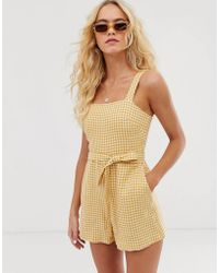 & Other Stories Square Neck Linen Romper - Yellow