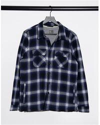 Threadbare Borg Lined Thick Check Shirt - Blue