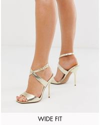 ASOS Wide Fit Weave Barely There Heeled Sandals - Metallic