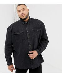 Collusion - Plus Oversized Western Denim Shirt In Washed Black - Lyst