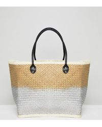South Beach Silver Ombre Straw Beach Bag - Metallic