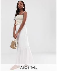 ASOS Asos Design Tall Cheesecloth Tiered Summer Maxi Skirt - White