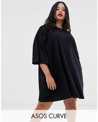 ASOS - Черное Платье-футболка В Стиле Oversized От - Lyst