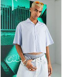 Collusion Camisa corta a rayas con bajo sin rematar y cuello - Multicolor