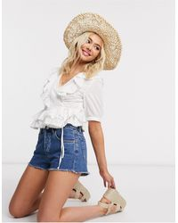 Pieces Wrap Blouse With Ruffle Trims - White