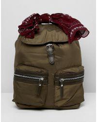 Pull&Bear Nylon Backpack In Khaki - Green