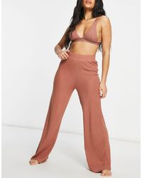 Chelsea Peers Lounge Ribbed Trousers - Pink