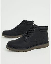 Pull&Bear Черные Ботинки На Шнуровке -черный