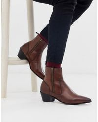 ASOS Cuban Heel Western Chelsea Boots In Brown Leather