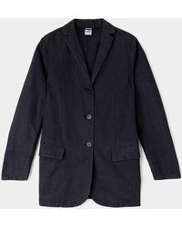Aspesi Klassische jacke aus leinen-baumwoll-gewebe - Blau