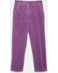 Aspesi Trousers - Cotton Corduroy Trousers Lilac 100% Cotton 44 - Purple