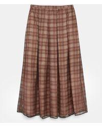 Aspesi Skirts - Chequered Skirt In Silk/cotton Organza Pink Background 71% Cotton 29% Silk 38 - Brown