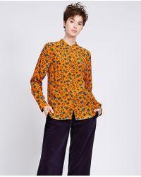 Aspesi - Printed Silk Guru Collar Shirt - Lyst