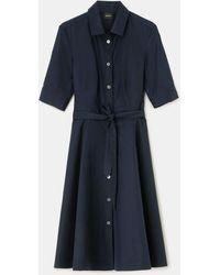 Aspesi - Dresses - Cotton Poplin Chemisier Dress Navy 100% Cotton 38 - Lyst