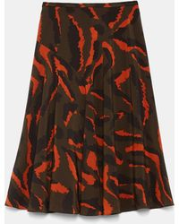 Aspesi Skirts - Unlined Skirt In Printed Crêpe De Chine Silk Military/orange 100% Silk 40 - Multicolour