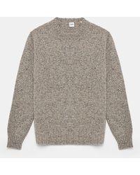 Aspesi Tricots et Sweats - Pull ras le cou en tweed de laine Donegal GRIS 100% laine 46