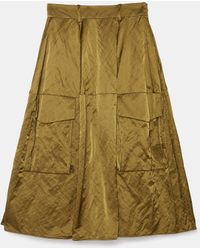 Aspesi Skirts - Metallic Cotton Sateen Skirt Military 53% Cotton 39% Polyamide 8% Metal 44 - Green