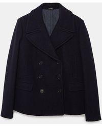 Aspesi Outerwear - Boiled Wool Pea Coat Navy 100% Wool 46 - Blue