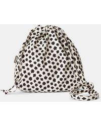 Aspesi Bags & Backpacks - Cotton Canvas Bucket Bag Small Black Flower Pattern 100% Cotton One Size - Multicolour