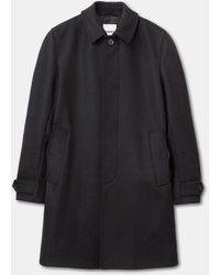Aspesi Abrigo de cierre recto en tela de lana double - Negro