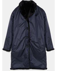 Aspesi Coats & Raincoats - Reversible Panna Coat Navy 100% Nylon M - Blue