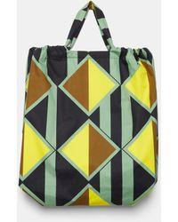Aspesi Bag In Printed Poplin - Yellow