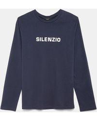 Aspesi Prendas de punto y Sudaderas - Camiseta de cuello redondo en jersey de algodón ESTAMPADO BLANCO 100% algodón XS - Azul