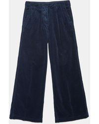 Aspesi Pantalone In Velluto Cotone A Coste - Blu