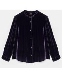 Aspesi Shirts & Tops - Classic Shirt In Light Silk/viscose Velvet Purple 82% Viscose 18% Silk 38