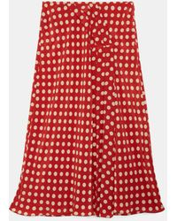 Aspesi Skirts - Midi Skirt In Printed Silk Crepe De Chine Red 100% Silk 38