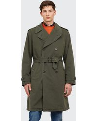 Aspesi Military-coloured Heavyweight Cotton Trench Coat - Green