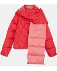 Aspesi Outerwear - Down Padded Nylon Jacket With Detachable Scarf Red 100% Nylon Xs