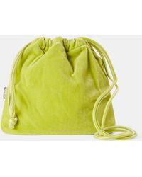 Aspesi New Arrivals - Silk Velvet Bucket Bag Acid Green 82% Viscose 18% Silk One Size - Yellow