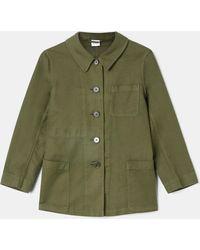 """Aspesi Jackets - Linen-cotton Gabardine """"work"""" Shirt-jacket Military 58% Cotton 42% Linen 38 - Green"""
